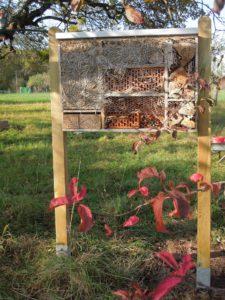 Im Rahmen des Apfelfestes 2019 wurde auch unser Insektenhotel aus dem diesjährigen Naturtagebuch mit zwei Pfosten ordentlich aufgestellt.